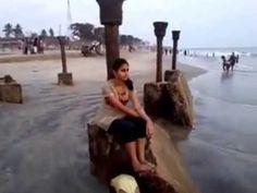 Sweety and Sandy playing at Calicut seashore