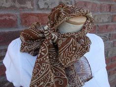 Lightweight Scarf Brown and Cream Chiffon Scarf Head Scarf Scarves for Women Spring and Summer Scarves Fashion Headscarves by Forever Andrea by foreverandrea on Etsy