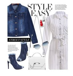 Street Chic: Denim Pumps by beebeely-look on Polyvore featuring Mackage, Fendi, Burberry, stripes, shirtdress, sammydress, denimjackets and StreetChic