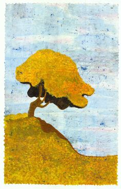 Tree print, Autumn seasonal giclee print from original watercolor batik on rice paper distressed look vintage-like choose size