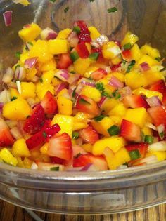 Homemade strawberry/mango salad. Great food during the 24 day challenge.  www.advocare.com/140454936