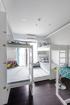 When pulled down from the wall, the bunk bed on the left provides additional… Studio Type Condo Ideas Small Spaces, Small Studio Apartment Design, Studio Condo, Condo Interior Design, Dorm Design, Small Studio Apartments, Condo Design, Apartment Layout, Tiny House Design