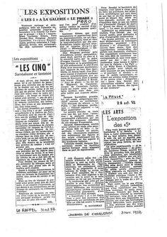 Le Rappel : Les cinq surréalisme et fantaisie (31.10.1952)