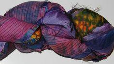 100g Recycled Sari Silk Ribbon Yarn multi 65 yards  by JuliaLCraft, $9.99