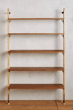 Kalmar Wall Mounted Bookshelf by District Eight in Brown Size: All, Storage at Anthropologie Steel Bookshelf, Wall Mounted Bookshelves, Bookcase Shelves, Wood Shelves, Shelving Units, Bookcases, Cheap Bookshelves, Glass Shelves, Floating Shelves