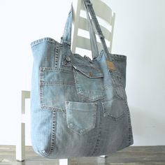XXL tote beach bag - recycled blue canvas jeans - large beach bag - weekend  bag - big shopper 3a8fa16234