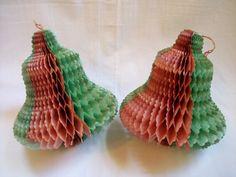 Vintage Honeycomb Bells 1940s Red Green Christmas by VintageBarrel, $11.99