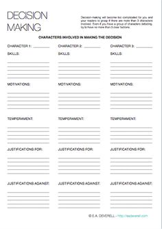 Writing worksheet: Make a Decision
