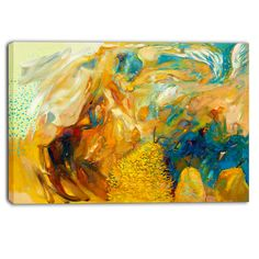 DESIGN ART Designart - Abstract Yellow Collage - Abstract Large Canvas Print (40 in. wide x 30 in. high)