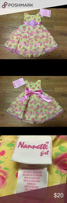 NEW NWT Nannette Girl Floral Dress Yellow Pink 12 NEW NWT Nannette Girl Floral Dress Yellow Pink 12 Mo  New with tags.  Floral print.  Swiss dot.  Satin ribbon trim.  Mesh under the layers.  Very fluffy.  Comes with matching diaper cover.  #flowers #floral #easter #dress #itsadress #new #nwt #yellow #pink #fancy Nannette Dresses