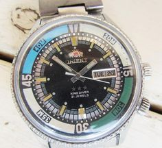 Rare Vintage Orient King Diver Automatic 21 Jewels Men's Wrist Watch Wotking Japanese Watch Retro Watch Collectible Watch Gift for Men Army Watches, Retro Watches, Vintage Watches, Watches For Men, Orient Watch, All Stainless Steel, Antique Items, Unique Vintage, Silver Color