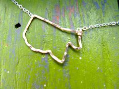 Mississippi necklace, sideways Mississippi, Mississippi jewelry, hammered Mississippi, Gold and Sterling Silver Mississippi necklace, MSU on Etsy, $48.00