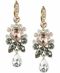 Givenchy 10k Gold-Plated Crystal Cluster Drop Earrings
