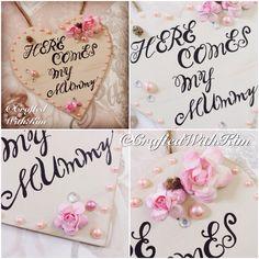 #craftedwithkim #handpainted #handmade #handcut #calligraphy #vintage #vintagewedding #vintagefloral #flowergirl #weddingheart #weddingplaque #paperrose #pearls #hessian #newlyweds Here comes my mummy  Www.facebook.com/CraftedWithKim