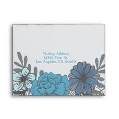 Shop Retro Floral Wedding, Response Envelope created by MetroEvents. Thank You Notes, Thank You Cards, Wedding Stationary, Wedding Invitations, Wedding Response Cards, Custom Printed Envelopes, Retro Floral, Floral Wedding, No Response