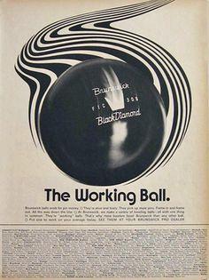 1968 Vintage Brunswick Black Diamond Bowling Ball Ad