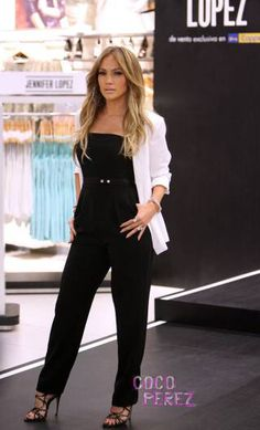 Jennifer Lopez black jumpsuit with white blazer