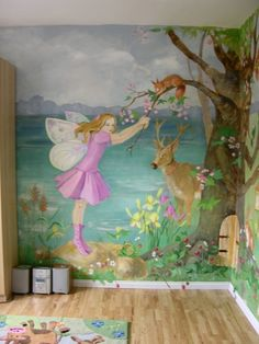 Bedroom Wall Mural for kid's room - fairy and forest