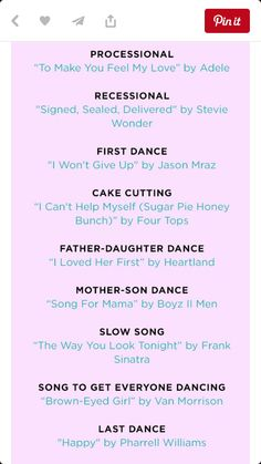 Songs Mother Son Dance Songs, Father Daughter Dance, First Dance, I Wont Give Up, Four Tops, Jason Mraz, Just She, Stevie Wonder, Help Me