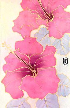 Silk Scarf Handpainted Pink Hawaiian Hibiscus por SilkScarvesTakuyo