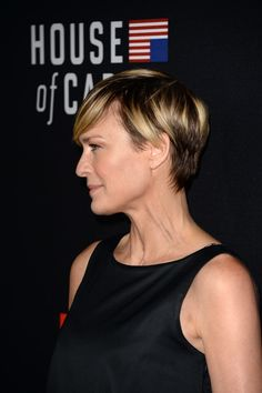 Short Hairstyles Lookbook: Robin Wright wearing Short Cut With Bangs (21 of 27). Robin Wright kept it laid-back with a short 'do with side-swept bangs during the 'House of Cards' season 2 premiere.