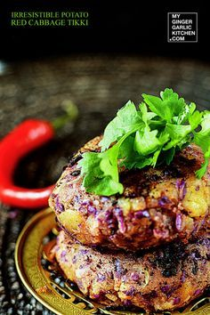 Irresistible Potato Red Cabbage Tikki - [Signature-Recipe] - My Ginger Garlic Kitchen. Looks really healthy if I could adjust the oil successfully. Potato Recipes, Veggie Recipes, Indian Food Recipes, Whole Food Recipes, Vegetarian Recipes, Dinner Recipes, Cooking Recipes, Healthy Recipes, Ethnic Recipes