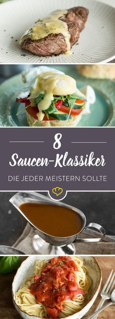 Du kaufst deine Tomatensauce im Supermarkt und hast Angst vor der Béchamel Sauc… You buy your tomato sauce in the supermarket and are afraid of the Béchamel sauce? You also master these 8 sauces. Bearnaise Sauce, Sauce Tomate, Food N, Food And Drink, Sauce Béarnaise, Salsa Bechamel, Bechamel Sauce, Cooking Recipes, Healthy Recipes