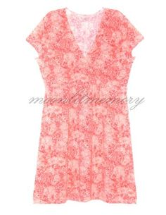 A joyful little dress that goes everywhere! Soft slubbed linen-rayon stretch knit in a coral-orange floral. Cap sleeves, V-neck, surplice bodice, raised waist. By Garnet Hill. Offered by moonlitmemory on ebay.