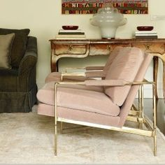 Milo Baughman pink + brass chair - gorgeous.