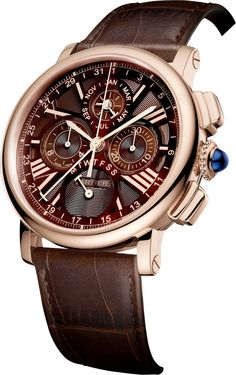 Rotonde de Cartier Perpetual Calendar Chronograph watch42 mm, automatic, 18K pink gold, leather