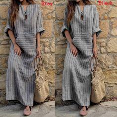 S-5XL ZANZEA Womens Kaftan Pinstriped Long Sleeve Striped Plus Long Maxi Dress