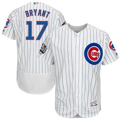6b0841985 Majestic Men s 2016 World Series Champions Authentic Chicago Cubs Kris  Bryant  17 Flex Base Home White On-Field Jersey