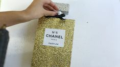Do Your Own Chanel Perfume. Homemade Christmas Crafts, Chanel Decor, Chanel Party, Glitter Candles, Chanel Perfume, Cardboard Art, Diy Crystals, Makeup Rooms, Beauty Room