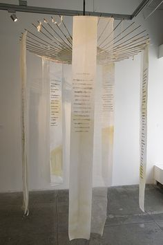 Ellen Ziegler, Patti Smith - Auguries of Innocence (Found umbrella, inkjet printed and stained rice paper, bookbinder's gauze) Fabric Installation, Exhibition Display, Conceptual Art, Word Art, Textile Art, Creative Art, Fiber Art, Contemporary Art, Textiles