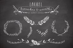 Vintage Laurel & Wreath design elements for by summitavenue