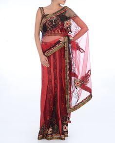 Fire Sari   Fire Red Lengha Sari - Buy Queen B - Lengha Sari Online   Exclusively ...
