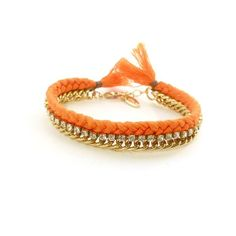 """Designed in L.A., Ettika brings Friendship Bracelets to a whole new level with this look. It's the perfect bracelet to stack for the most trendy & colorful arm party!  Made with cotton thread, 18K gold plating, and glass crystal accents.  Fits wrist sizes 6""""-7""""  Nickel Free. Imported."""