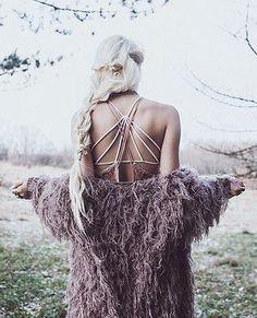 Love the fierce braid hair and feathery kimono