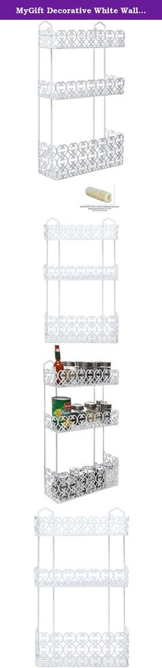 MyGift Decorative White Wall Mounted 3 Tier Shelf Baskets / Kitchen Spice Rack / Bathroom Product Holder. Make organizing your everyday necessities simple with this decorative hanging storage rack. Made of sturdy white metal, this organizer features 3 tiers of shelf baskets of varying sizes great for preventing clutter. Use in the kitchen to store spices and condiments, or hang in the bathroom for easy access to shampoo, soap, shaving cream and lotions. Mount onto the wall with the…