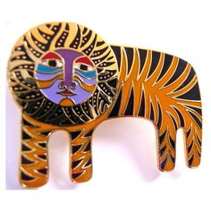 Vintage Laurel Burch Tigre pin brooch tiger lion 1980s collectible... ($32) ❤ liked on Polyvore featuring jewelry, brooches, vintage pins brooches, lion jewelry, laurel burch, vintage broach and vintage jewelry