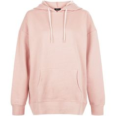 New Look Shell Pink Oversized Slouch Hoodie found on Polyvore featuring tops, hoodies, jackets, sweaters, shirts, shell pink, pink hoodie, shell tops, oversized shirt and pink shirts