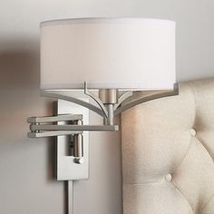 Tremont Brushed Nickel Metal Swing Arm Wall Lamp is a quality Wall Lamps for your home decor ideas. Bedside Wall Lights, Swing Arm Wall Lamps, Bedside Lighting, Bedroom Lighting, Plug In Wall Lamp, Wall Mounted Lamps, Modern Wall Sconces, Bedroom Lamps, Bedroom Ideas