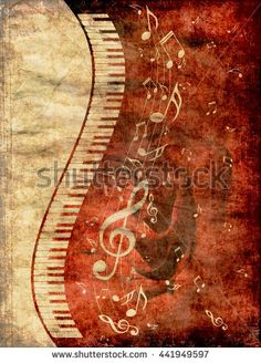 Abstract illustration of a piano keys with musical notes grunge background.