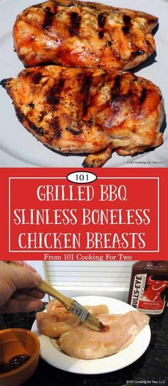 A great tasting, moist and tender grilled BBQ skinless boneless chicken breast. A simple short brine gets you the moist chicken breast you want. A light coat of BBQ sauce then grill carefully. Umm, chicken heaven. via @drdan101cft