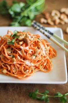 Raw Carrot Pasta Salad with Ginger-Lime Peanut Sauce -For the Ginger-Lime Peanut Sauce: 2 tablespoons creamy peanut butter 4 tablespoons coconut milk 2 tablespoons liquid aminos Pinch cayenne pepper 2 large cloves garlic, finely chopped 1 tablespoon fresh ginger, peeled and grated 1 tablespoon lime juice Kosher salt to taste adjust as needed