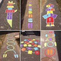 Diy Crafts - Fun,Games-Fun Summer Games for Kids to Play Outdoors - Sidewalk Chalk , Chalk Fun Games Kids kidssummeractivitieslearning Outdoors Preschool Playground, Playground Games, Preschool Activities, Motor Activities, Outdoor Games For Kids, Summer Activities For Kids, Toddler Activities, Summer Games, Diy Crafts To Do