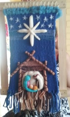 Loom Weaving, Tapestry Weaving, Christmas Nativity, Christmas Stockings, Holiday Crafts, Holiday Decor, Macrame Art, Weaving Projects, Woven Wall Hanging
