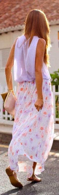 Zara White Multi Floral Chiffon Maxi Skirt by Marilyn's Closet