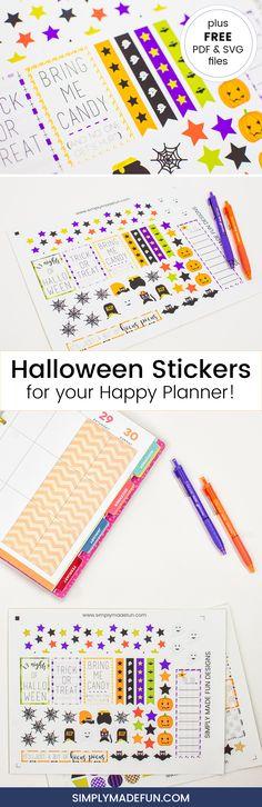 Halloween Stickers   Happy Planner   Free Printable   Halloween Printable   Holiday Crafts via @simplymadefun