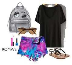 """M''M- Romwe"" by michellemeit ❤ liked on Polyvore featuring WithChic, Sam Edelman, Chiara Ferragni, MAC Cosmetics and Ray-Ban"